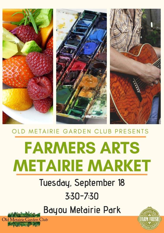 Farmers Arts Metairie Market September 18, 2018 | Old Metairie Garden Club