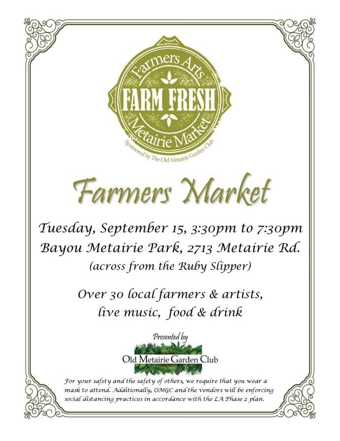 Farmers Arts Metairie Market Flyer | Old Metairie Garden Club
