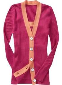 Women: Women's Color Block Cardigans - Cyclamen