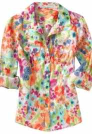 Women: Women's Sheer Cotton Camp Shirts - Multi-Floral Top