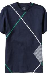 Men: Men's Tall Argyle Side-Seam Tees - Dark Sea Blue