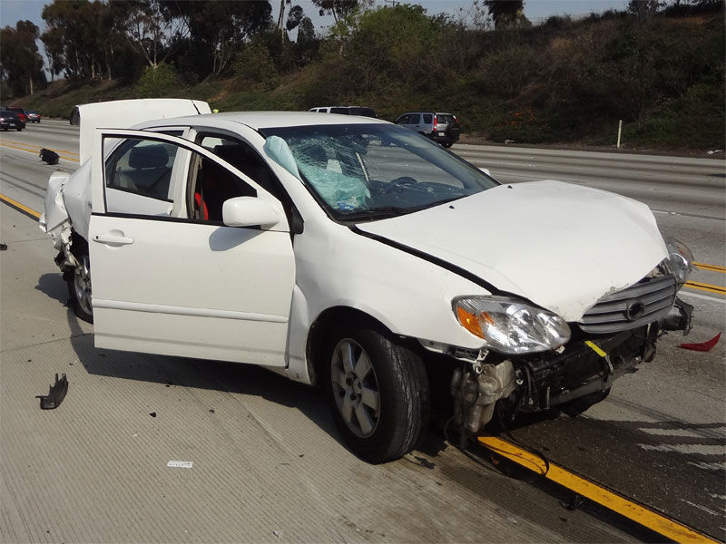 A jacked-up car