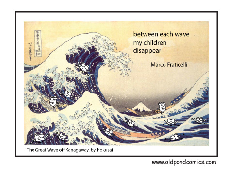comic inspired by the great wave off kagawara by oldpondcomics