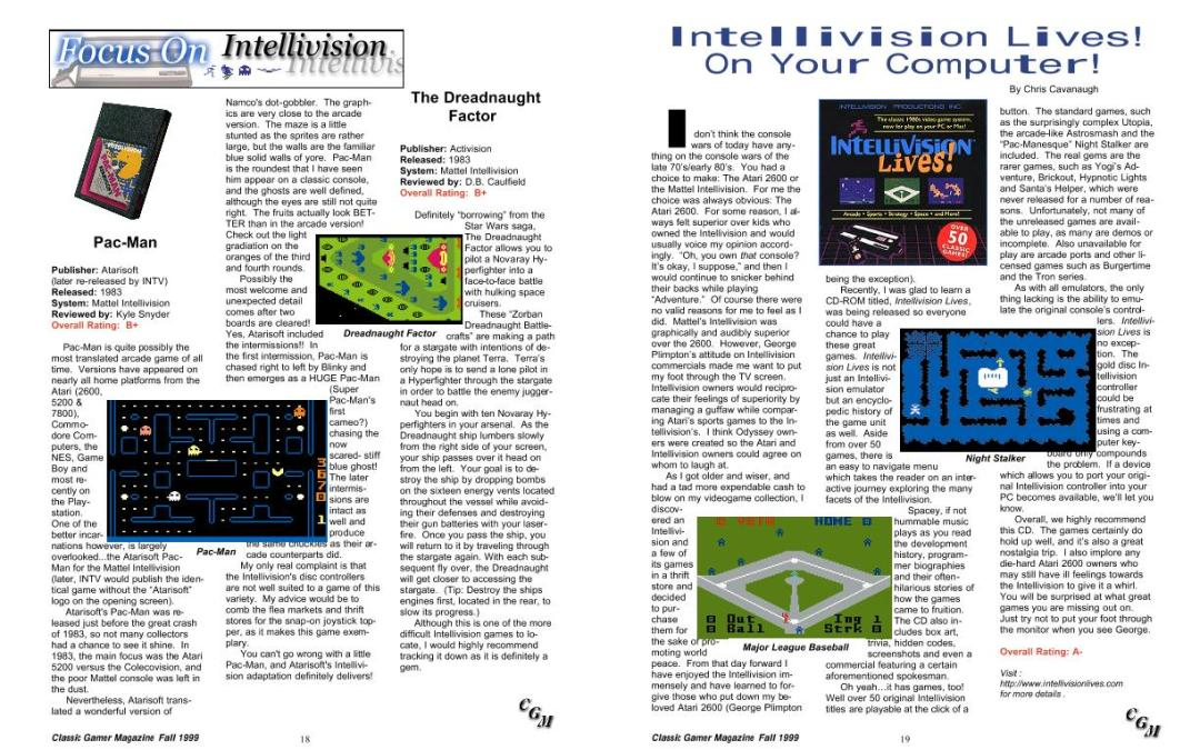 Intellivision Lives! On Your Computer! By Chris Cavanaugh