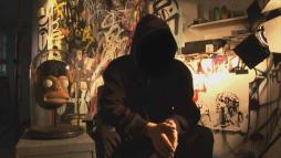 Imagen de banksy en una entrevista