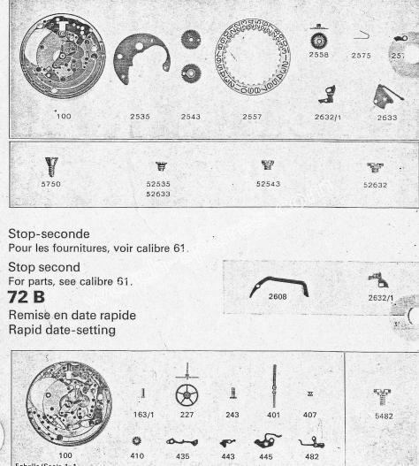 Zodiac 72 B watch date parts