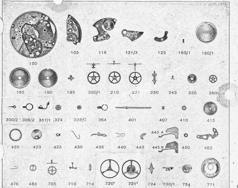 Zodiac 72 B watch parts