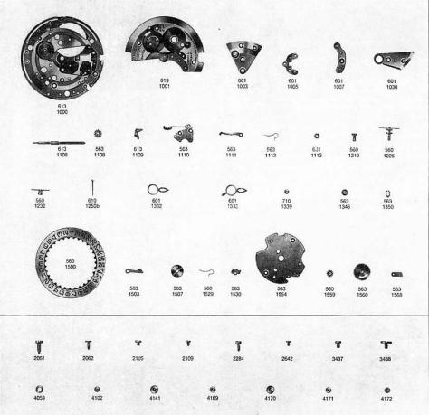 Omega 611 watch date parts