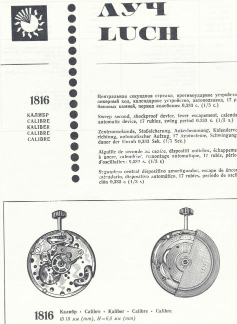 Luch 1816 watch movements