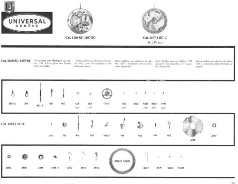 Universal 1106SC watch movements watch spare parts