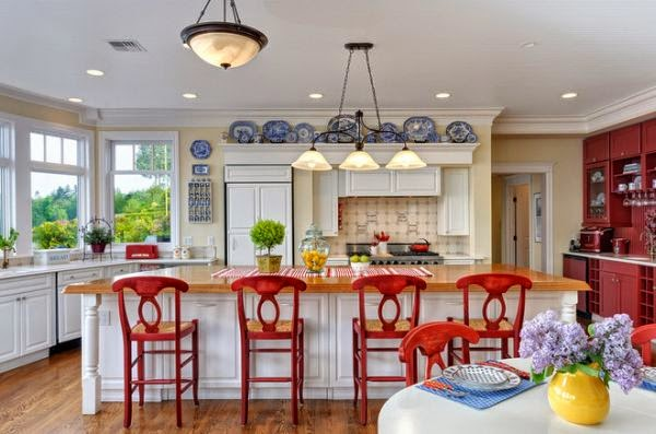 Red, blue and yellow kitchen