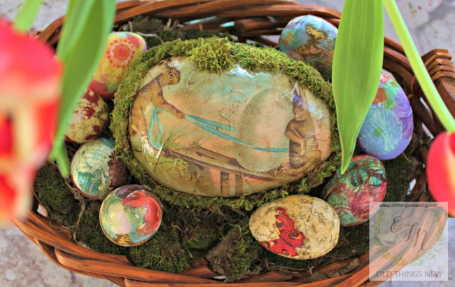 Mossy Decoupage Egg