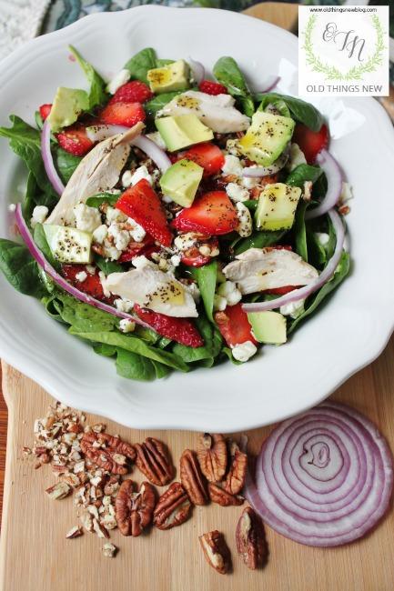 Main Dish Chicken, Strawberry, Spinach Salad