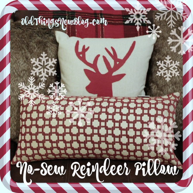 Snowy overlay reindeer pillow