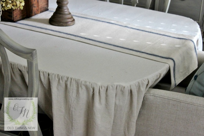Ruffled drop cloth tablecloth