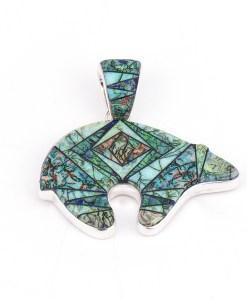 Calvin Begay Cultured Opal Bear Pendant