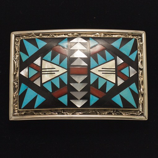 Turquoise, Coral, and Mother of Pearl Inlay Belt Buckle by skilled Zuni artists Don and Viola Eriacho.