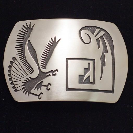 Sterling Silver Eagle Overlay Belt Buckle by skilled Hopi artist Darren Seweyestewa  of the Coyote Clan.