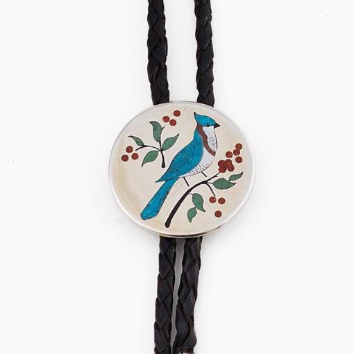 Navajo artist Barber Blue Jay Bolo Tie