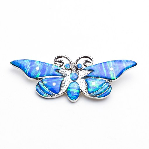 Artist RL Blue Lab Opal Butterfly Pendant
