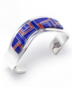 Ladies' Lapis & Coral Inlaid Bracelet