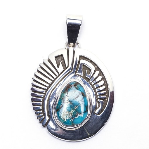 Navajo Sam Gray Turquoise Pendant