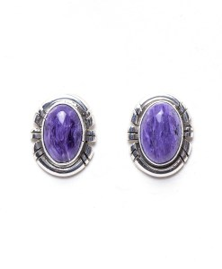 Navajo RP Charoite Post Earrings