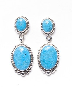 Navajo Elouise Kee Brilliant Turquoise Earrings