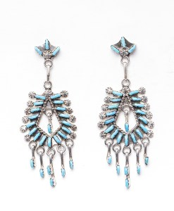 Zuni Leekity Turquoise Chandelier Earrings