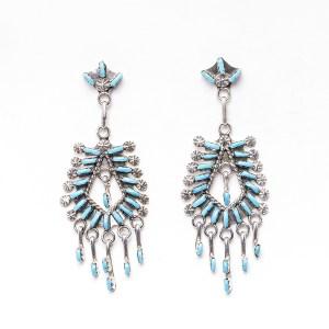 Zuni Leekity Turquoise Chandelier Earrings