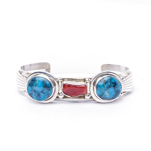 Navajo artist MLB Turquoise and Coral Bracelet