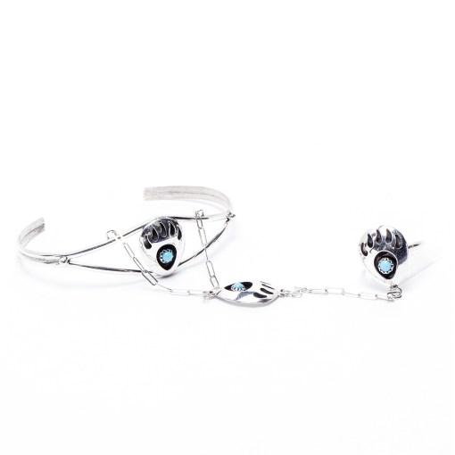 Navajo artist LP Bear Paw Slave Bracelet
