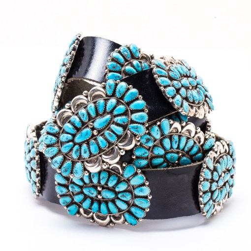 Navajo Justine Wilson Sr. Turquoise Concho Belt