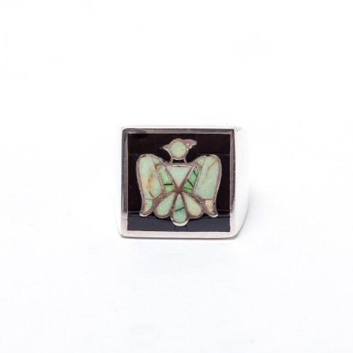 Navajo Artist Studio Thunderbird Onyx Opal Ring