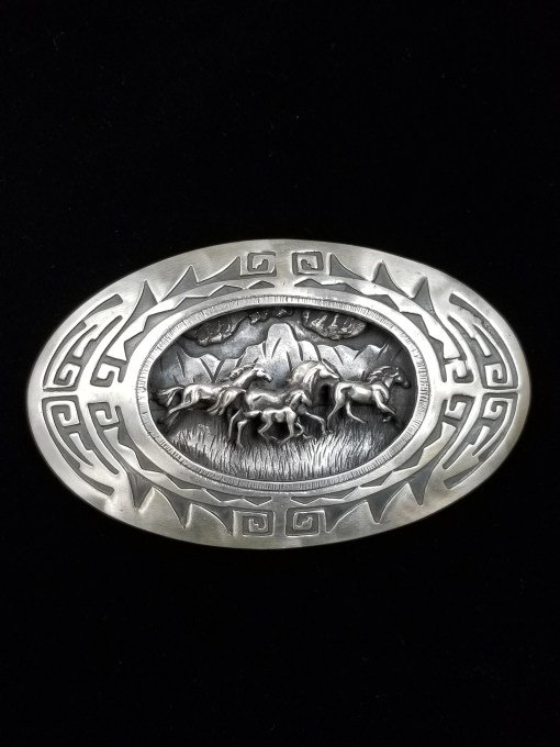 Navajo L. James WILD HORSES buckle