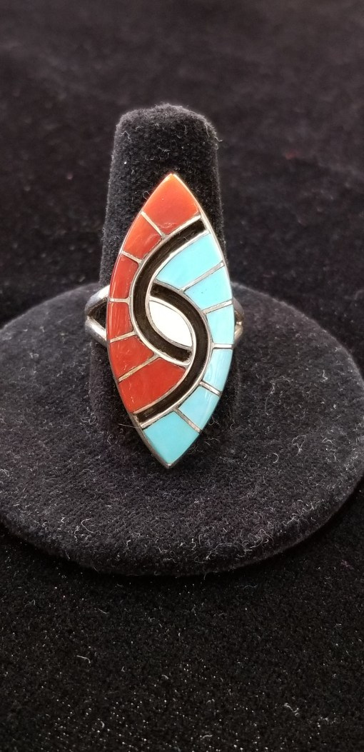 Zuni Amy Quandelacy Turquoise Coral Ring