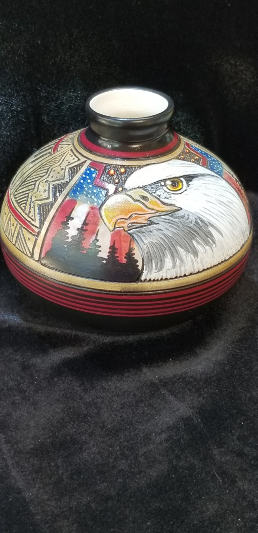 Navajo EAGLE pot by Paul Lansing