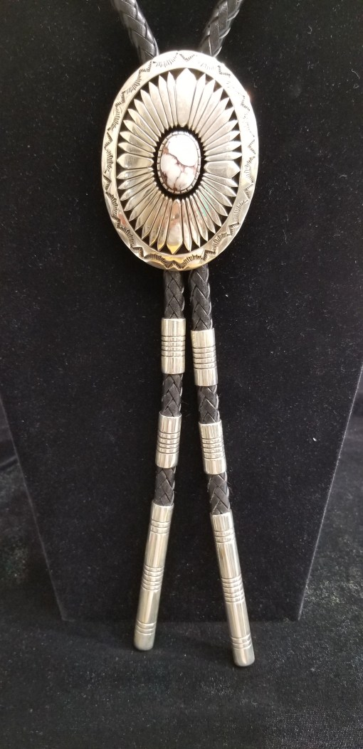 Navajo White Buffalo turquoise bolo by Henry Yazzie