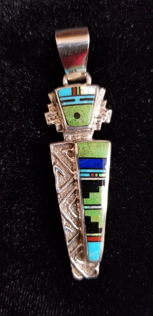 Navajo multi-colored inlaid Yei be chai pendant