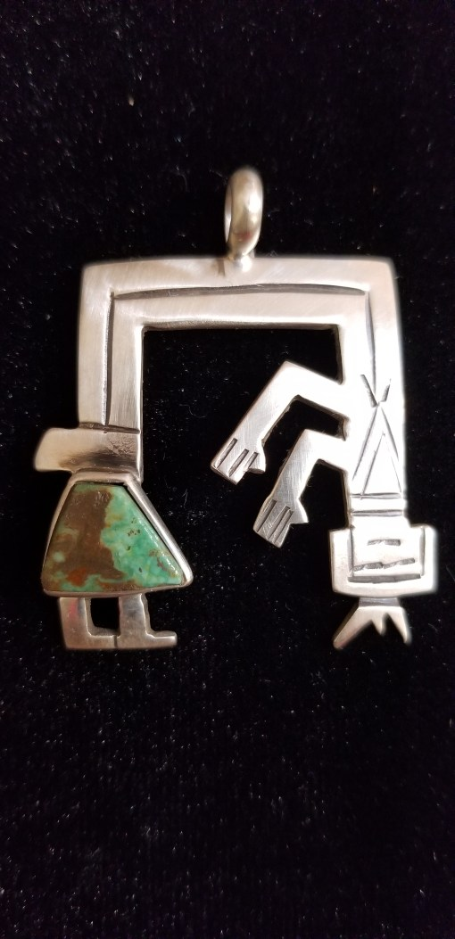 Navajo Rainbow Man pendant by Dorothy Jeffries