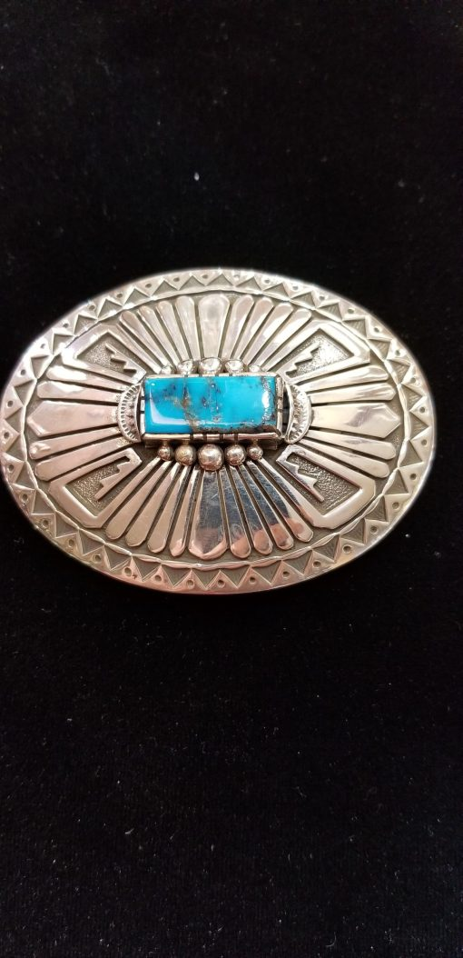 Navajo Buckle by Henry Yazzie with turquoise