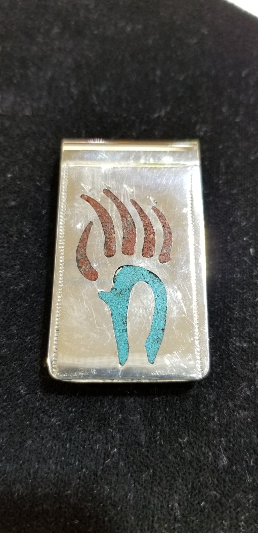 Navajo bear claw money clip with turquoise & coral