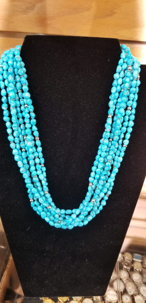 Navajo 7-strand High Grade Kingman Necklace (sleeping Beauty) is a sky Blue that is outstanding! Stand out in the crowd, wear th