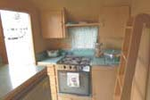 Kitch Counter Across Rear of Vintage 1963 Shasta Back Entry Trailer
