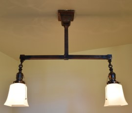 Craftsman style chandelier 22 inch lit up