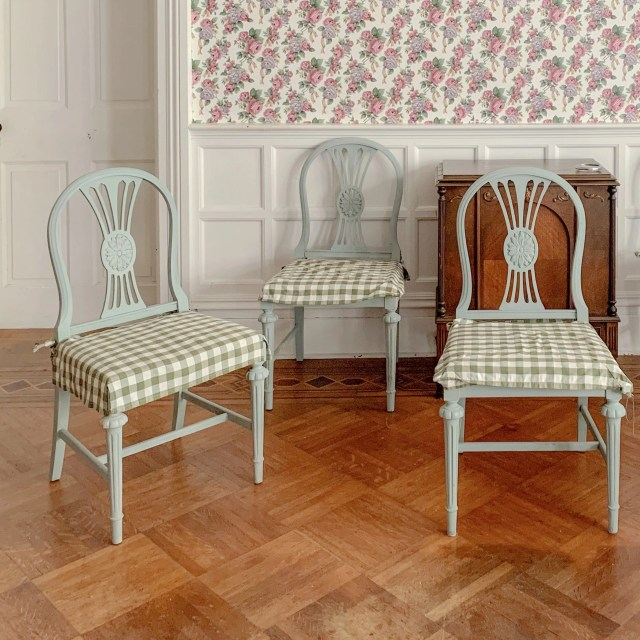 blue and green Swedish Country style chairs