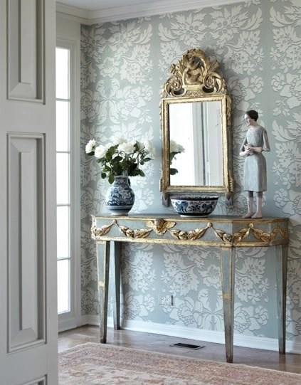 gray and gold half moon table