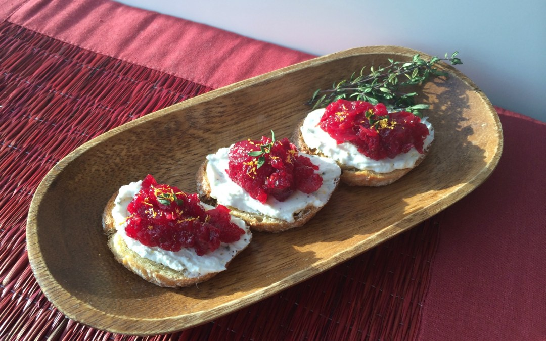 Savory Cranberry Goat Cheese Crostini | Food & Nutrition Magazine's Stone Soup Blog Feature