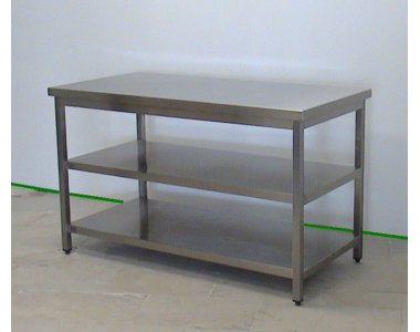 stainless steel centre or wall table 2 under shelves grill refrigerators professional equipment for food service new used machines