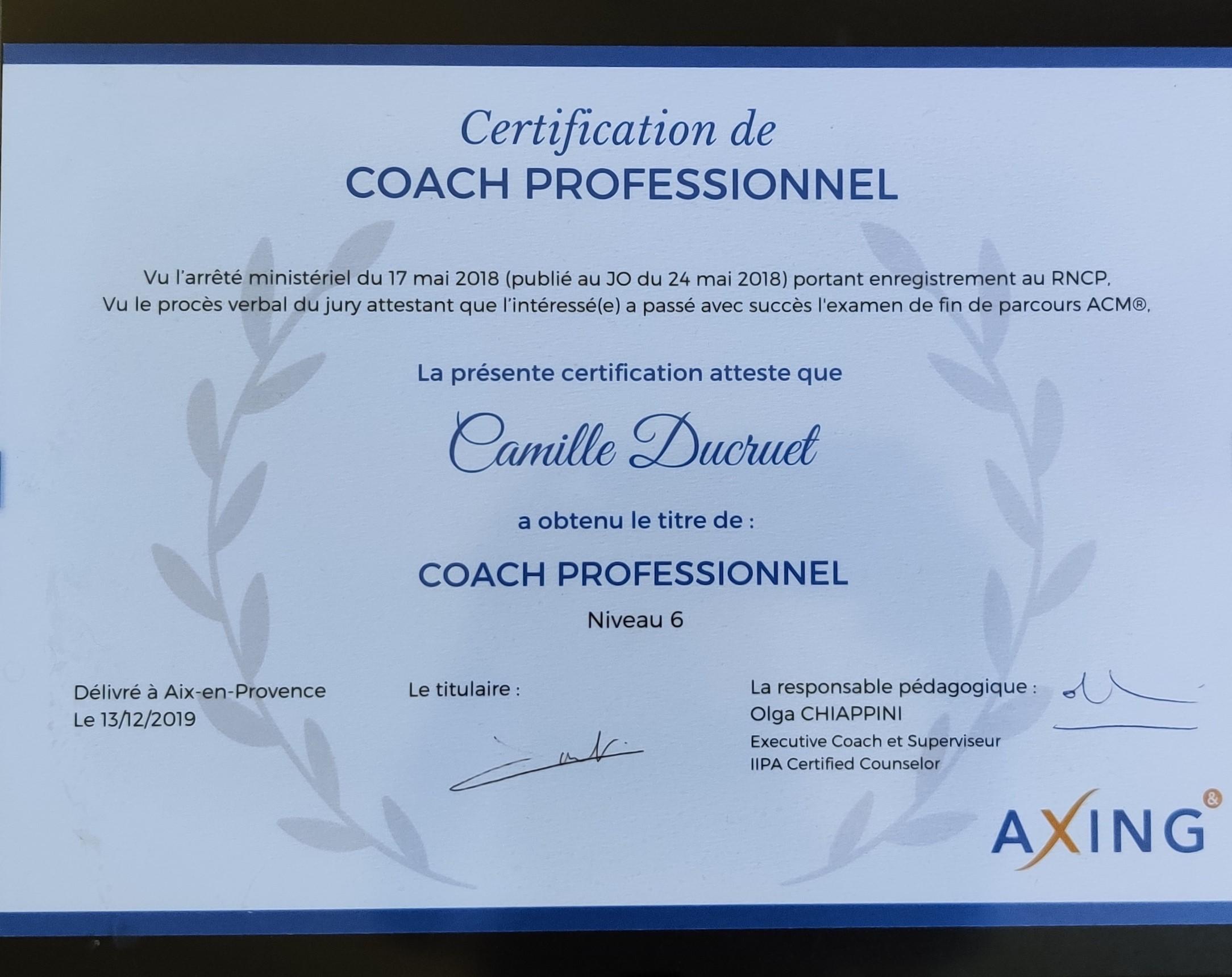 Certification Coach Professionnel spécialisé dans l'approche Intégrative et Relationnelle